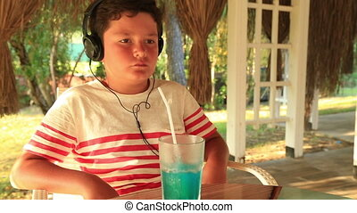 Young boy with headphone - Happy child with headphone...