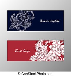 Floral pattern horizontal banner collection. Vector...