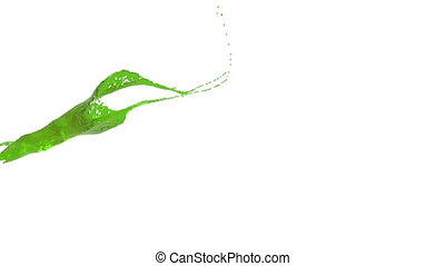 close-up view of green color splash in slow motion. syrup -...