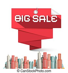 Big Sale Red Label and Skyscrapers Vector Illustration