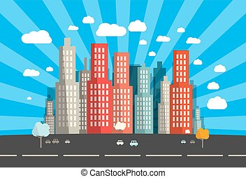 Flat Design Vector City