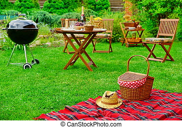 Picnic Blanket With Hat And Basket. Party Or Picnic Concept...
