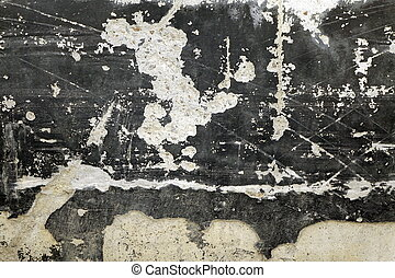 Black Concrete Wall With White Spots And Wreck Plaster Layer...