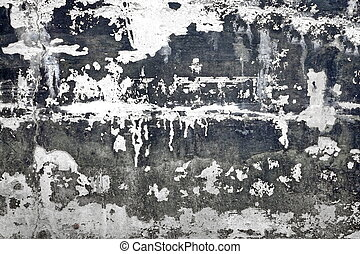 Black And White Concrete Wall With Damaged Plaster Layer...