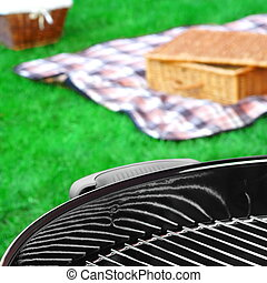 BBQ Grill,Picnic Basket With Wine, Blanket On The Lawn -...
