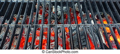 Hot Barbecue Grill With Glowing Charcoal Background