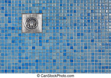 Outdoor Shower Cabin Blue Tiled Floor With Grate Of Outflow...
