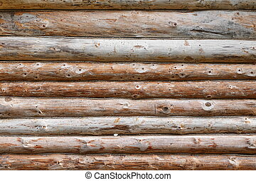 Debarked Rough Log Cabin Wall Horizontal Background Or...