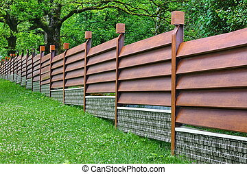 Modern Fence Made From Metal Siding Like As Natural Wood -...