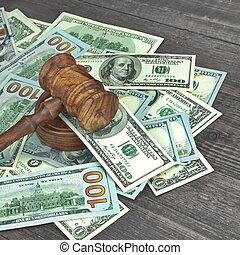 Judges or Auctioneers Hammer On Huge Money Heap - Judges or...