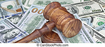 Judges or Auctioneers Hammer On Huge Money Heap - Judges or...