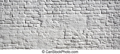 White plastered brick wall. Background and texture with...