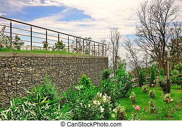 Two Level Garden Terrace With Garden And Wall From Gabions -...