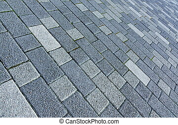 Patio Floor Or Pavement Made From Concrete Brick Bloks...