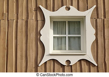 Wooden Overlapped Boarded Wall Background With Single Window...