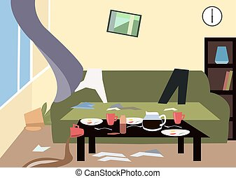 mess in the room cartoon - mess in the room - colorful...