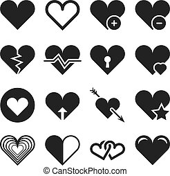 Love heart vector icons set
