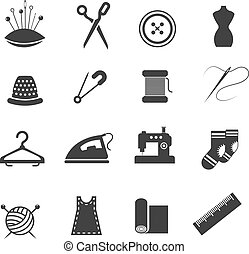 Sewing fashion needlework tailor vector icons