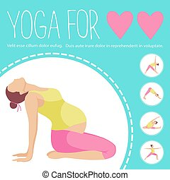 Pregnant woman doing exercise. Variants of poses.