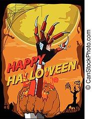 Happy Halloween hand robot killer vector background - Happy...