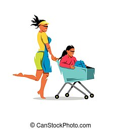 Vector Racing on the shopping trolley Cartoon Illustration....