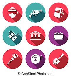 Vector Set of Bank Robbery Icons Thief, Weapon, Welder,...