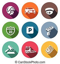 Vector Set of Road Patrol Police Icons. Cop, Car, CCTV,...