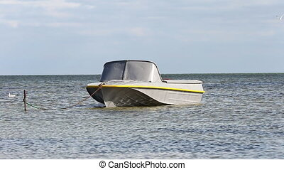 Motor boat standing on the ground - Motor boat standing on...