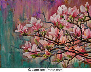 oil painting - sakura branch on abstract background, art drawing, blossom, Japanese cherry tree