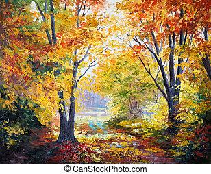 lona, óleo,  -, Outono, floresta, quadro