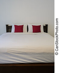 blanc, rangé, lit, chambre à coucher