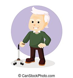 old man holding walking stick