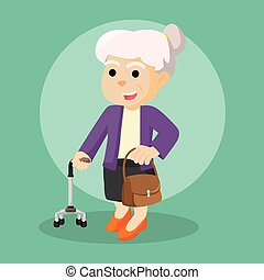 old woman holding walking stick and bag
