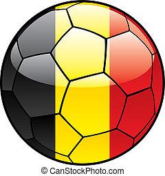 Belgium flag on soccer ball - vector illustration of Belgium...