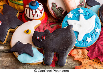 Black cat,crescent,ghost and bloody eye halloween cookies -...