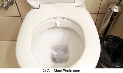 White home toilet closeup - Water flushing in toilet bowl