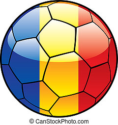 Chad flag on soccer ball - vector illustration of Chad flag...