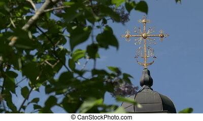 View of church cross through swaying foliage - View of...