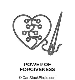 Power of forgiveness thin line vector icon isolated on the...