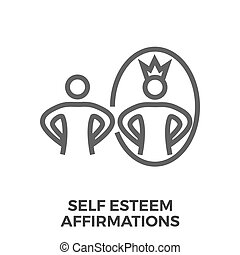Self esteem affirmations thin line vector icon isolated on...