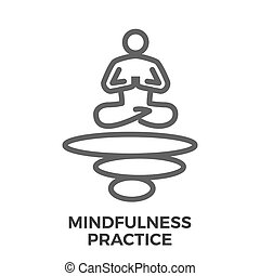 Mindfulness practice thin line vector icon isolated on the...