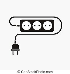 Extension cord - vector illustration. Icon of power...