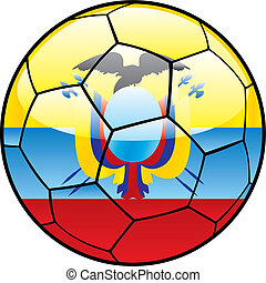 Ecuador flag on soccer ball - vector illustration of Ecuador...