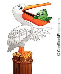 Pelican eating fish - Vector illustration of Pelican eating...