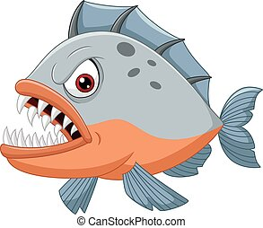 Angry piranha cartoon - Vector illustration of Angry piranha...