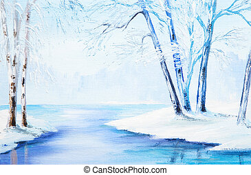 oil painting - winter landscape, colorful watercolor