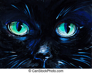 watercolor painting - cat eyes,  black, card, clip