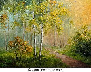 Impressionismo, lona, óleo, abstratos,  -, estilo, floresta, feito, vidoeiro, quadro, desenho