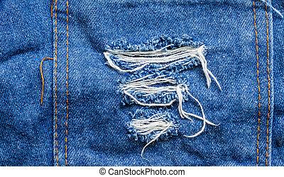 Torn jeans pocket