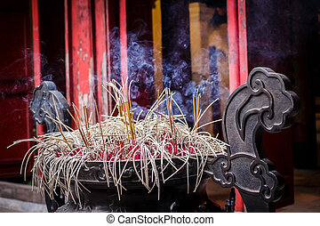 An incense burner in a traditional Chinese temple